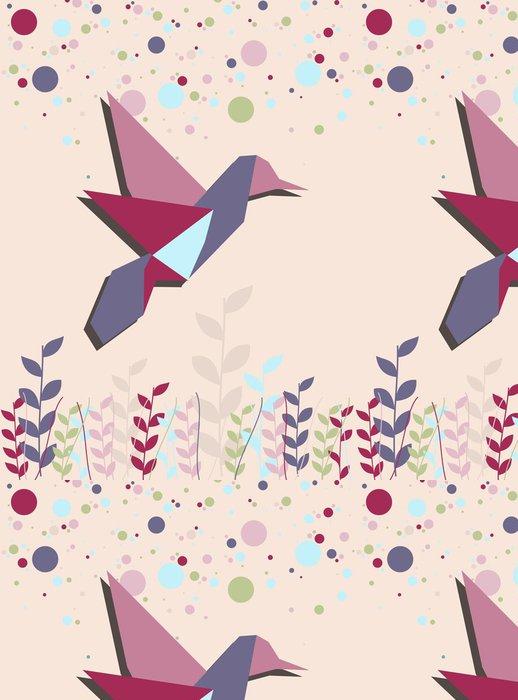 Vinylová Tapeta Single Origami kolibřík v růžové - Roční období