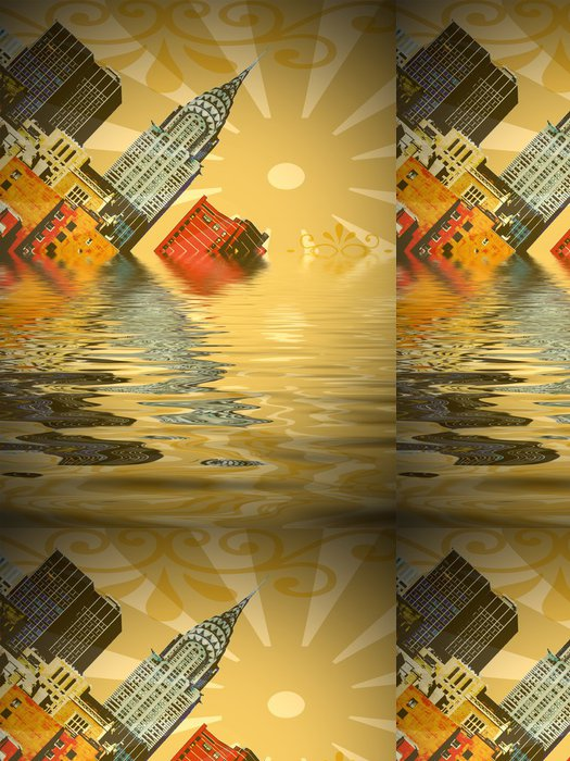 Tapeta Pixerstick Sinking město - Americká města