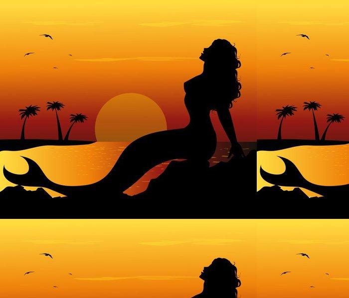 Tapeta Pixerstick Sirena sugli scogli - Imaginární zvířata
