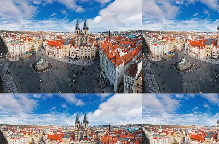 Tapeta Pixerstick Široký úhel panorama z centrálního náměstí v Praze, Česká republika - Památky
