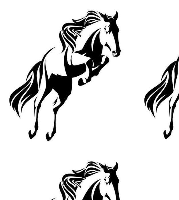 Tapeta Pixerstick Skákání jízda na černé a bílé vektorové designu - Zvířata