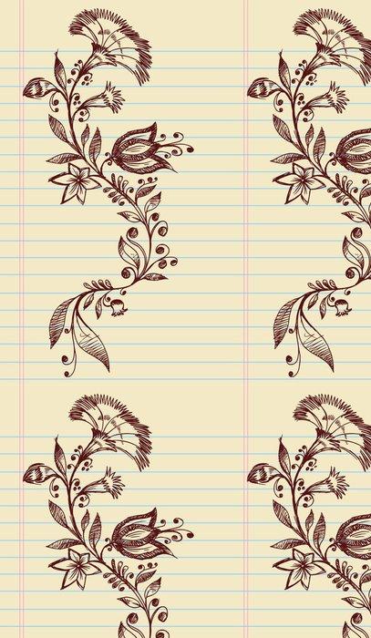 Tapeta Pixerstick Sketch Doodle Henna Elegantní Květiny a Vines Vector - Květiny