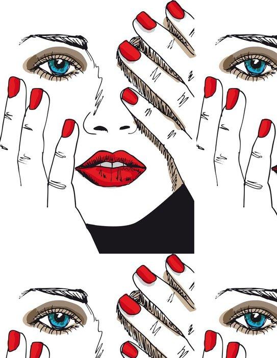 Tapeta Pixerstick Skica krásná ženská tvář. Vektorové ilustrace - Móda