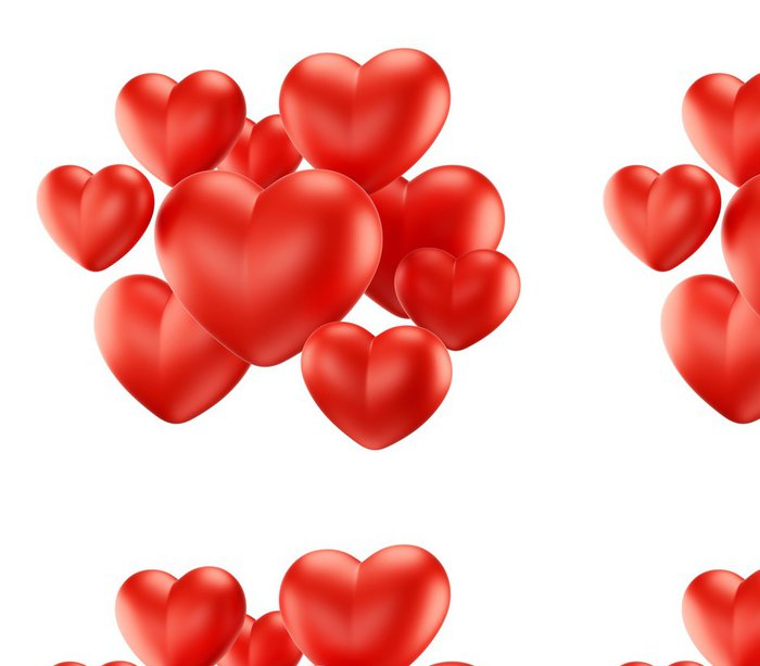 Tapeta Pixerstick Skupina červené srdce - Štěstí