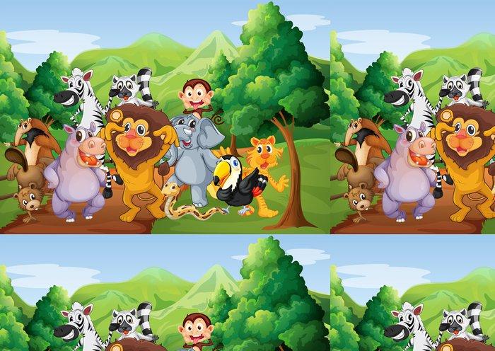 Vinylová Tapeta Skupina zvířat v džungli - Pro předškoláka