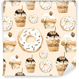 Vinylová Tapeta Sladké bezešvé vzorek s dorty, koblihy a zmrzlinou. chutné pozadí pro návrh menu, pozvánky, stránky kuchařské knihy. vynikající tisk pro balení papíru, tkaniny, dlaždice, tapety