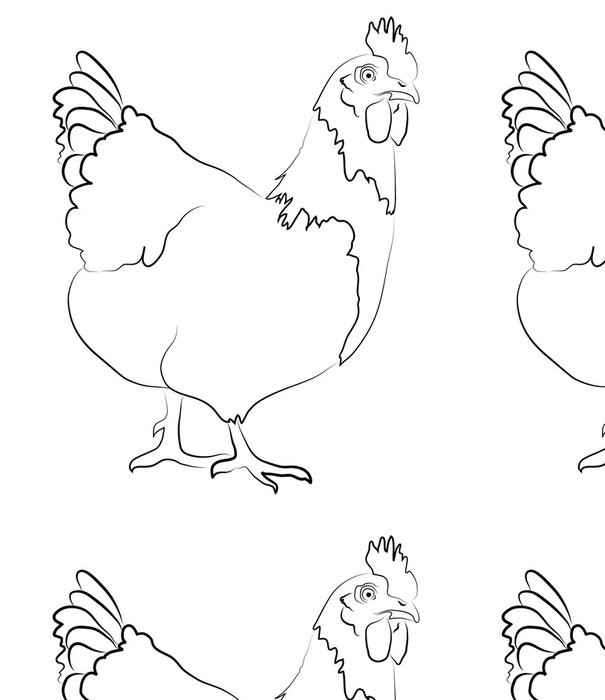 Tapeta Pixerstick Slepice Zjednodušená Contour Silhouette - Ptáci