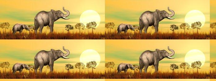 Tapeta Pixerstick Sloní matka a dítě v savaně - 3D vykreslování - Témata