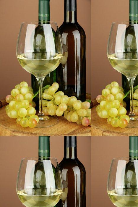 Vinylová Tapeta Složení lahví vína, sklenici bílého vína, hroznového - Témata