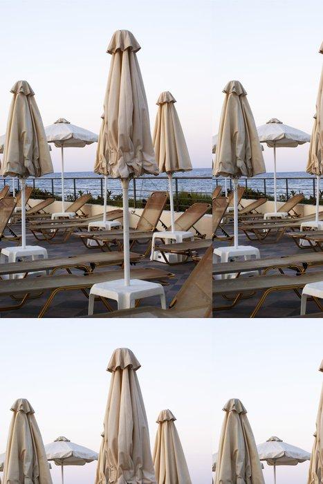 Vinylová Tapeta Sluneční clona v řeckém hotelu - Prázdniny