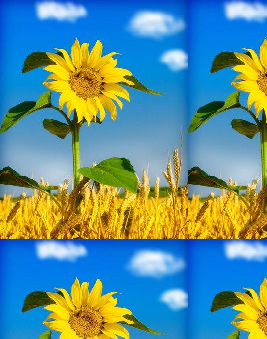Tapeta Pixerstick Slunečnice a pšenice - Zemědělství