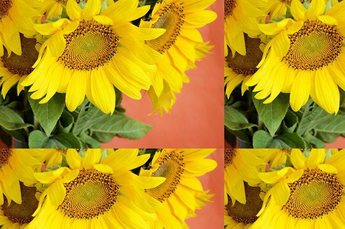Tapeta Pixerstick Slunečnice kytice na červeném pozadí - Národní svátky