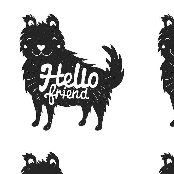 Tapeta Pixerstick Smajlíky pes a nápisy text - hello friend - Zvířata