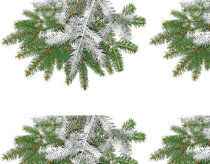 Tapeta Pixerstick Smrk větvičku sněhem na bílém pozadí - Stromy
