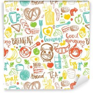 Vinylová Tapeta Snídaně bezešvé vzorek s chlebem, kašičkou, kávou, vejci a nápisy. lze použít pro menu, banner, pozadí a hlavičku webu.