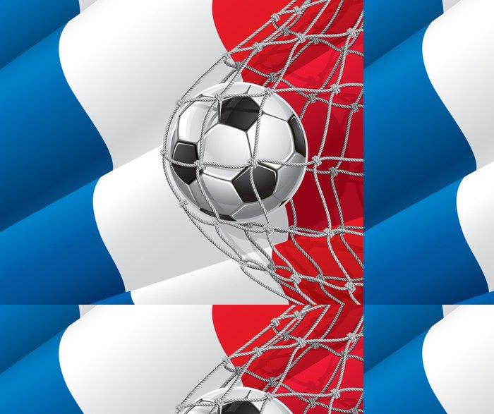 Vinylová Tapeta Soccer Goal. Francouzská vlajka s fotbalovým míčem v síti. - Národní vlajky