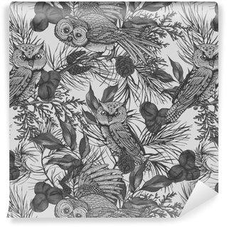 Vinylová Tapeta Sovy a větve bezešvé vzor