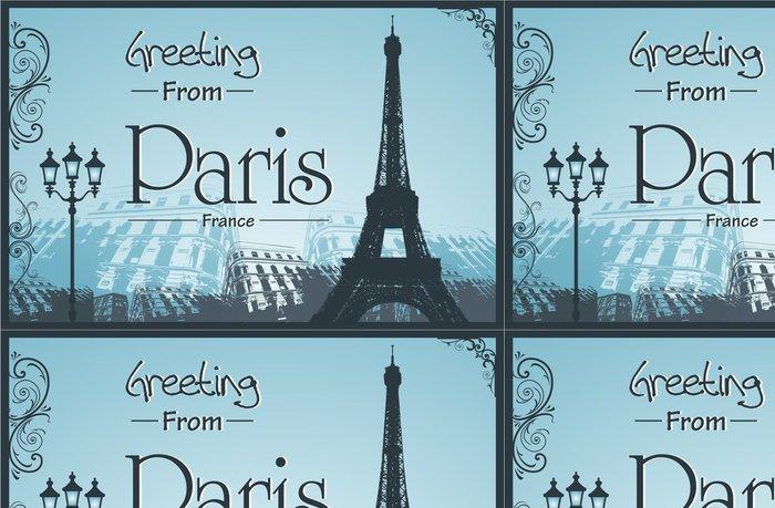 Vinylová Tapeta Space Retro Style Plakát s Paříží Pozadí - Památky