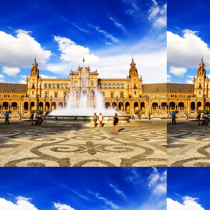 Tapeta Pixerstick Spanish Square (Plaza de España) v Seville, Španělsko - Evropská města