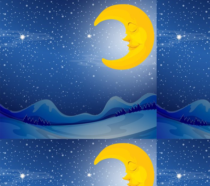 Tapeta Pixerstick Spící měsíc - Nebe