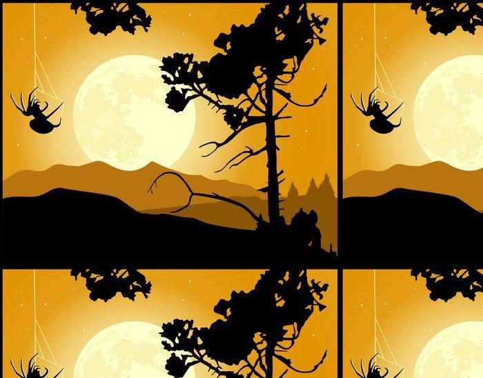 Tapeta Pixerstick Spider pletení web na měsíčním světle. Halloween pozadí - Lesy