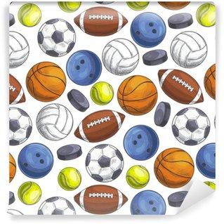 Vinylová Tapeta Sportovní míčky bezešvé vzor