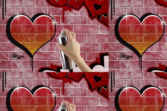 Tapeta Pixerstick Srdce graffiti na cihlové červené zdi - Kultura a náboženství