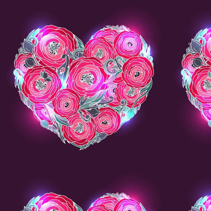 Vinylová Tapeta Srdce pryskyřník-růžové květy na tmavém pozadí - Pozadí