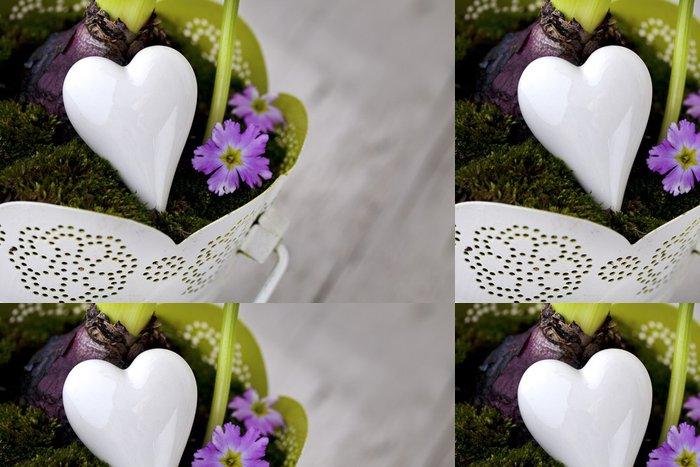 Tapeta Pixerstick Srdce v květináči - Značky a symboly