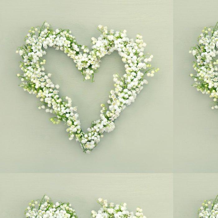 Tapeta Pixerstick Srdce ve tvaru květiny věnec na zeleném pozadí - Květiny