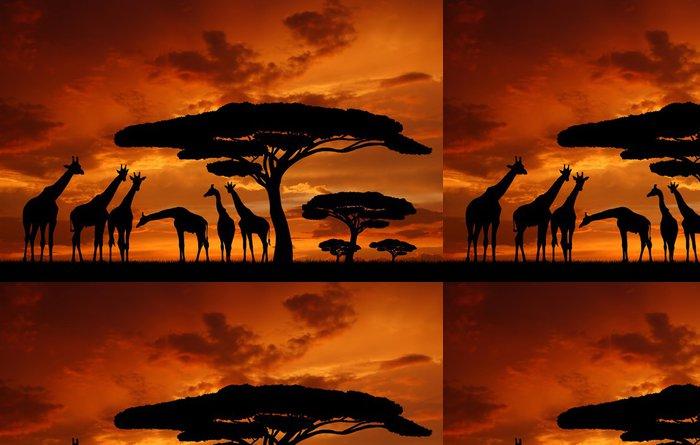 Tapeta Pixerstick Stádo žiraf v zapadajícím slunci - Témata