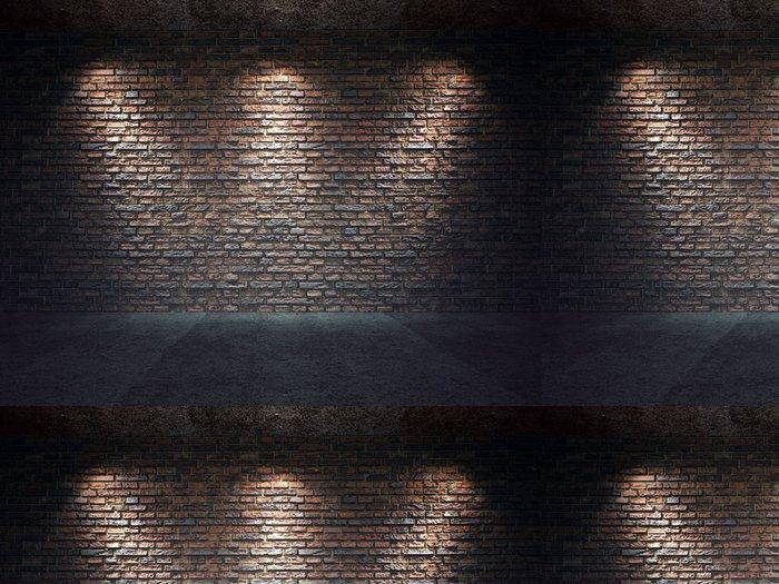 Tapeta Pixerstick Staré cihlové zdi osvětlen reflektory - Styly
