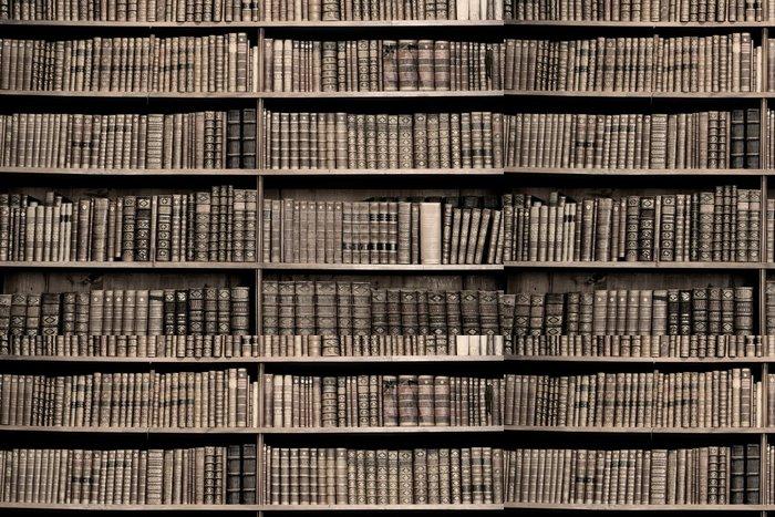 Tapeta Pixerstick Staré knihy v knihovně - sépie obrázek - Knihovna