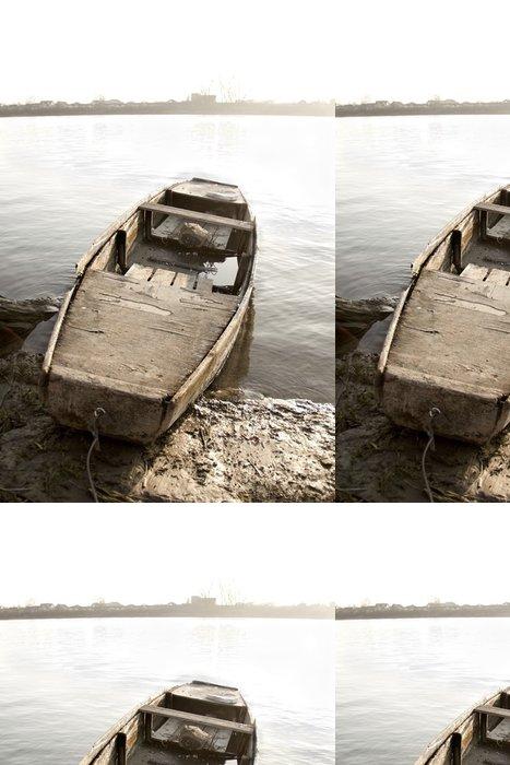 Tapeta Pixerstick Staré lodi na břehu řeky - Lodě