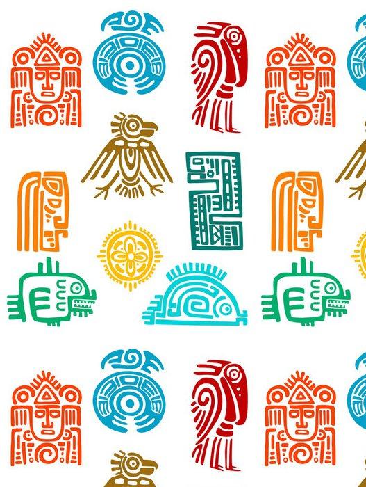 Tapeta Pixerstick Starověké maya prvky a symboly - Doplňky a věci