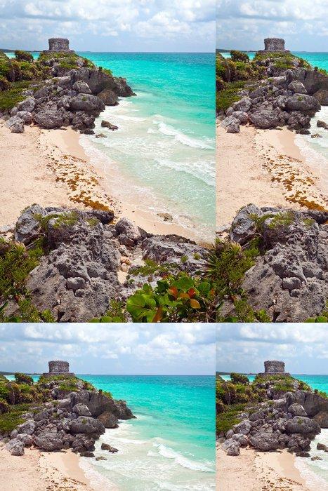 Tapeta Pixerstick Starověké mayské zříceniny chrámu na pláži Tulum, Mexiko - Amerika