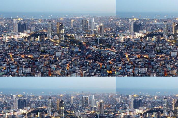 Tapeta Pixerstick Starý a Nový straně Istanbulu v noci - Střední Východ