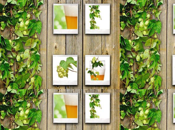 Tapeta Pixerstick Starý dřevěný plot a popínavá rostlina chmele - Alkohol