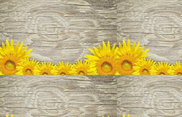 Tapeta Pixerstick Starý dřevěný rám a pozadí s opalovacími květinami - Pozadí