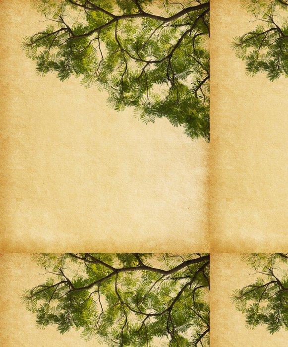 Tapeta Pixerstick Starý papír s listy tropického stromu - Struktury