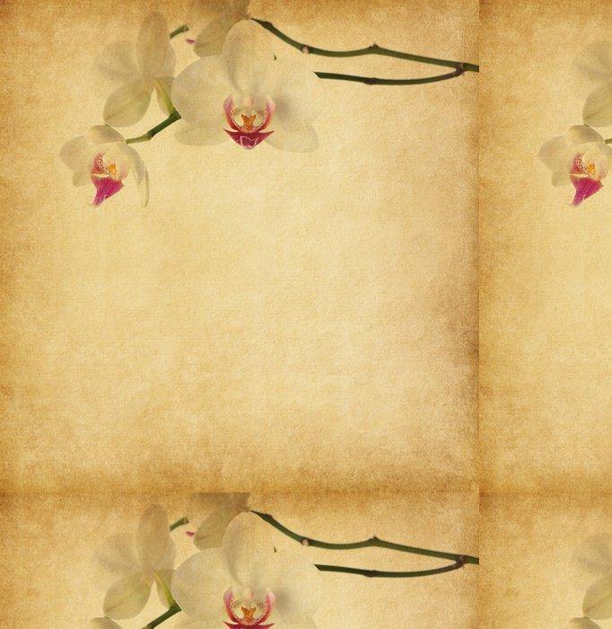 Tapeta Pixerstick Starý papír textury s orchidejí. - Květiny