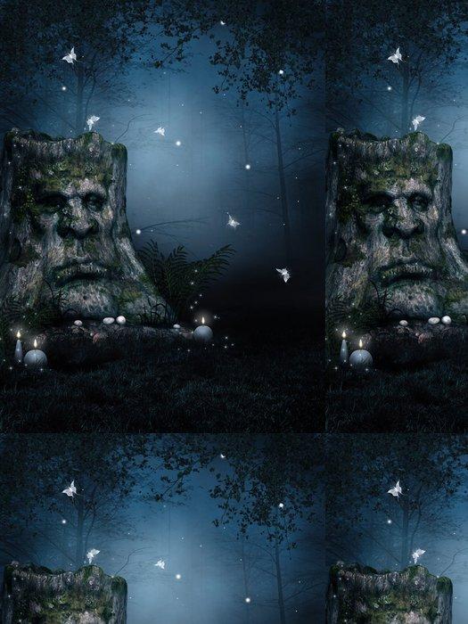 Tapeta Pixerstick Starý strom v kouzelném lese v noci - Lesy