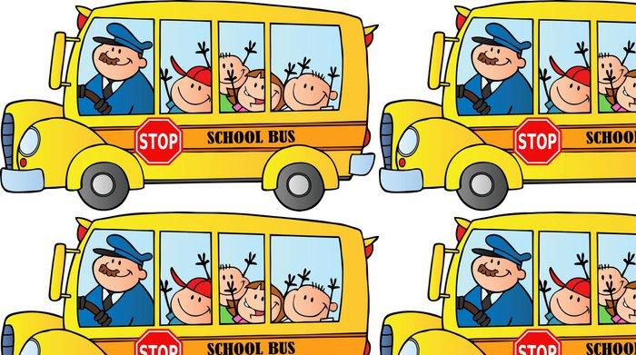 Tapeta Pixerstick Šťastné děti na školní autobus - Nálepka na stěny