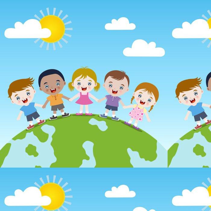 Tapeta Pixerstick Šťastné děti společně na Zemi -