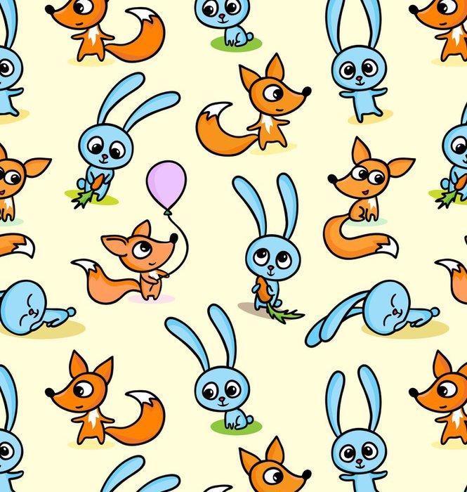 Tapeta Pixerstick Šťastné lišky a králíčci na bezešvé podtisk - Savci