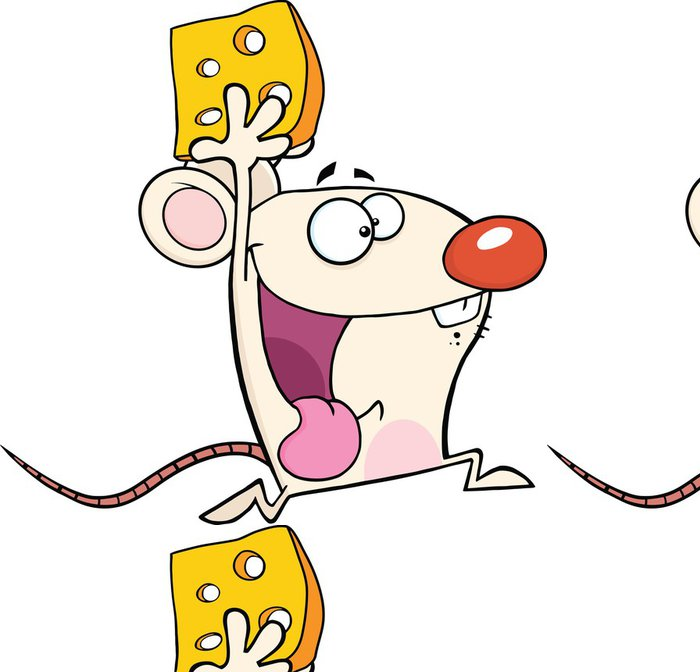 Tapeta Pixerstick Šťastný White Mouse Cartoon Maskot Character Running With Cheese - Savci