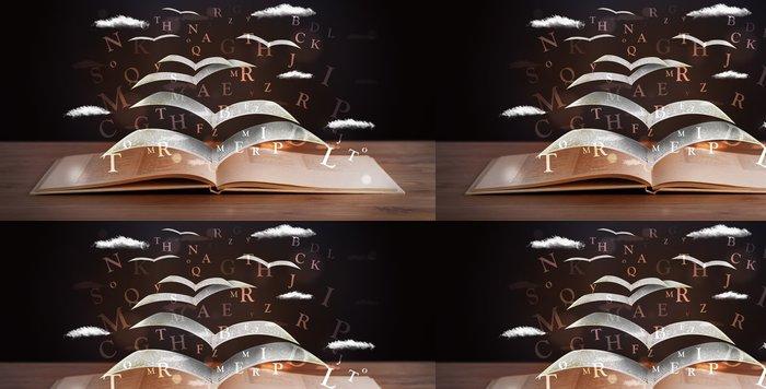 Vinylová Tapeta Stránky a zářící písmena létající z knihy - Vzdělávání