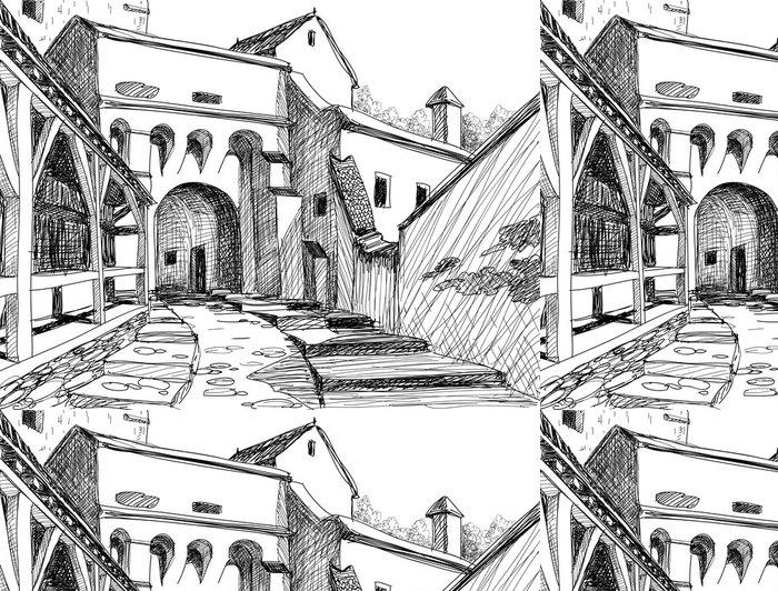 Tapeta Pixerstick Středověké tvrze skica - Památky