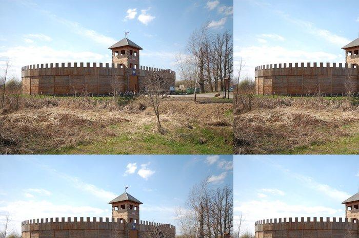 Tapeta Pixerstick Středověký dřevěný hrad - Byczyna - Evropa