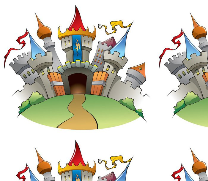 Tapeta Pixerstick Středověký hrad, kreslené vektorové ilustrace - Nálepka na stěny